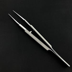 Image 2 - 18 センチメートルステンレス鋼ラウンドハンドルまぶたピンセットプラットフォーム二重まぶたツール微ティッシュ鉗子眼科楽器