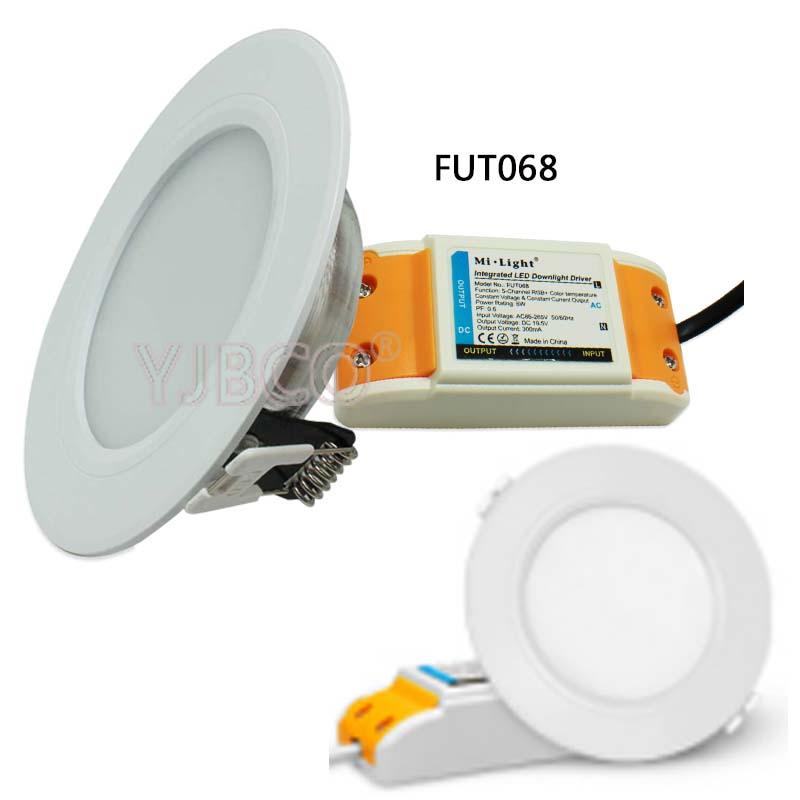 Miboxer FUT060/FUT068 6W Dual White/RGB+CCT LED Downlight dimmable AC86-265V &FUT005/<font><b>FUT092</b></font> remote image