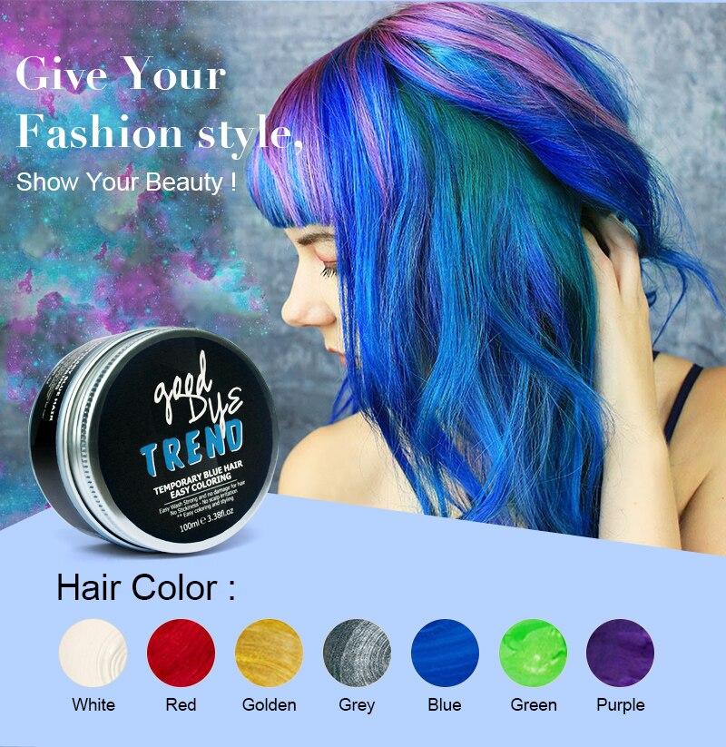 Tintura de Cabelo Roxa e Azul para Cabelo Cera para Festa Maluca e Férias Temporária Popular Coloração Subir