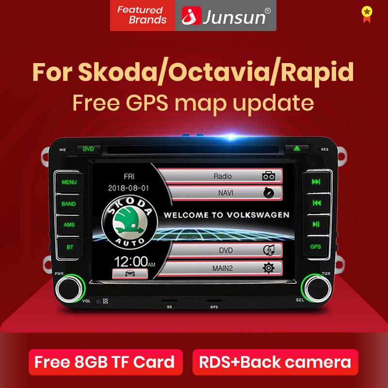 """Junsun 2 din 7 """"reproductor Multimedia de Radio DVD para coche para VW/Skoda/Octavia/Fabia/Rapid/Yeti/asiento/León navegación GPS audio estéreo de coche"""