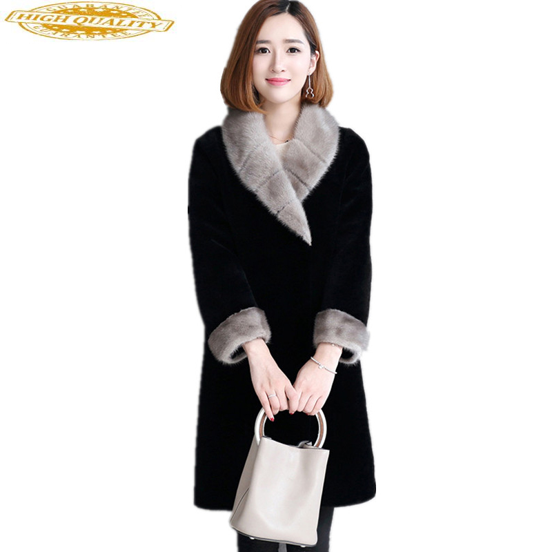2020 New Natural Lamb Fur Coat Female Winter Warm Jackets For Women Real Sheep Fur Coats Mink Fur Collar Overcoat WYQ943