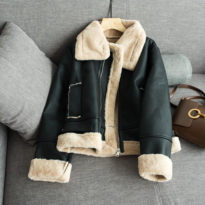 Winter Motorcyle   Basic     Jackets   Plush Outerwear Warm Coat Streetwear Punk PU   Jacket   Faux Fur   Jackets   For Women
