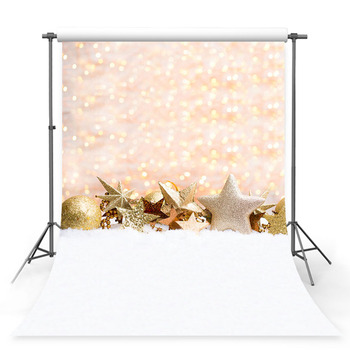 Christmas Photography Backdrop Christmas Tree Gold Star Decor Holiday Party Gold Light Children Background Photobooth