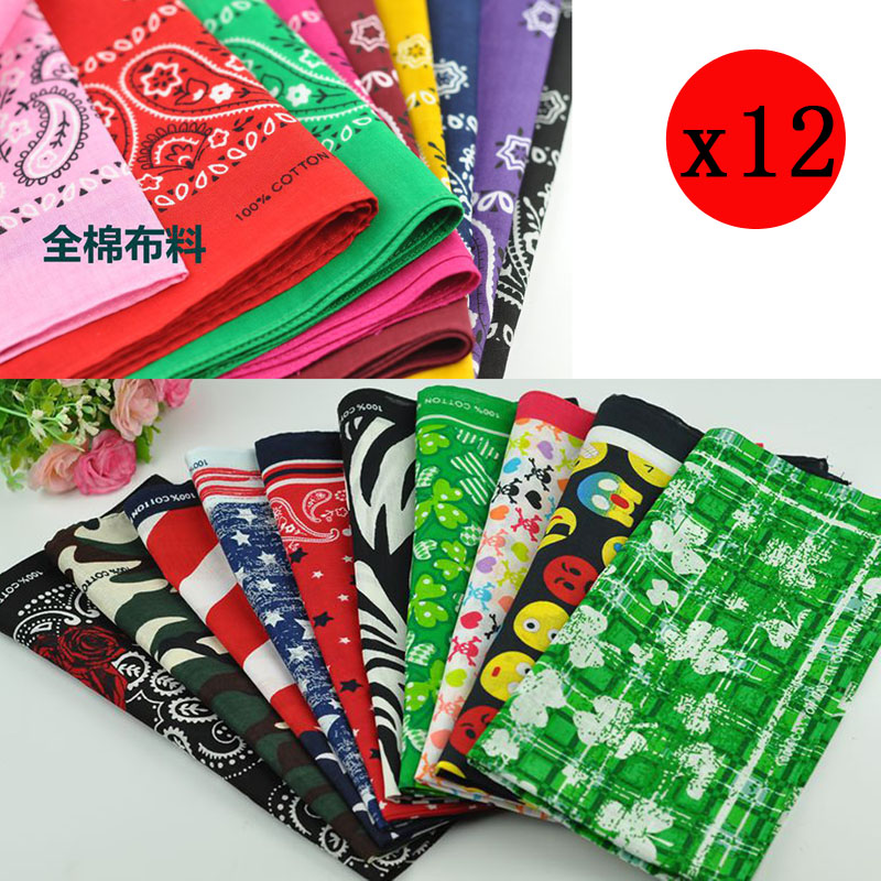 12pcs 45cm*45cm Vintage Hip-hop Bandanas For Men Pocket Square Handkerchief  Women Hanky Head Wrap Neck Scarf Wristband