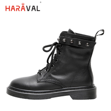 HARAVAL New Fashion Winter Ankle Boots Women Luxury Genuine Leather Round Toe Thick Heel Shoes Classic Black Lace-up Boot B217
