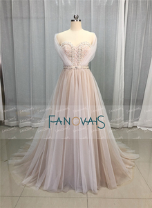 Image 2 - Elegant Wedding Dresses 2019 Off the Shoulder Champagne Wedding Gown 2019 Crystal Beaded Top Tulle Vetsido de Novia WN10