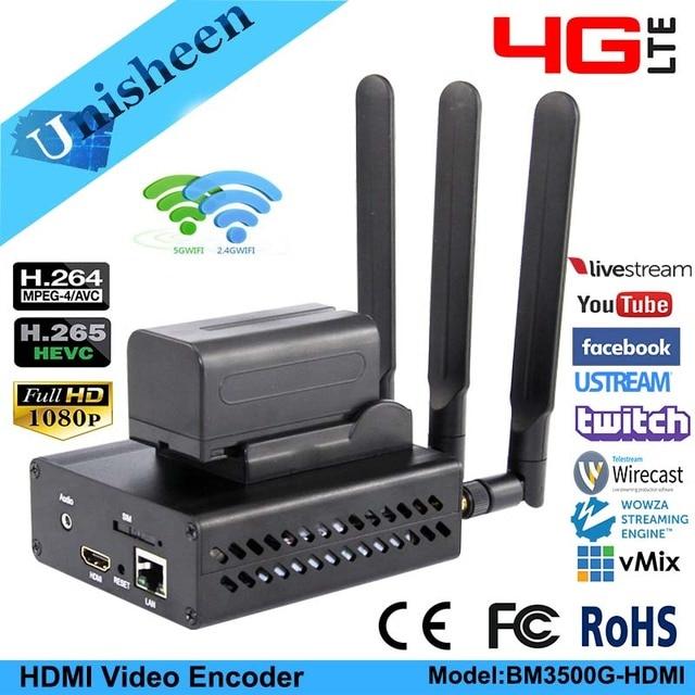 Unisheen 4G LTE H.264 H.265 Wifi Video Encoder HDMIเครื่องส่งสัญญาณIp Rtmps Live Broadcastไร้สายYoutube Facebook Wowza Vmix