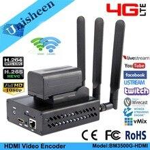 Unisheen 4G LTE H.264 H.265 wifi HDMI Video Encoder Trasmettitore ip rtmps Trasmissione in diretta senza fili youtube facebook wowza vmix