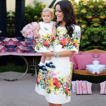 Casual Floral Print Mother Daughter Dresses Summer A-Line Kn
