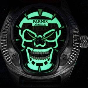 Image 3 - Luxe Merk Parnis Commander Serie Lichtgevende Heren Steel Case Lederen Horlogeband Automatische Self Wind Mechanische Horloge