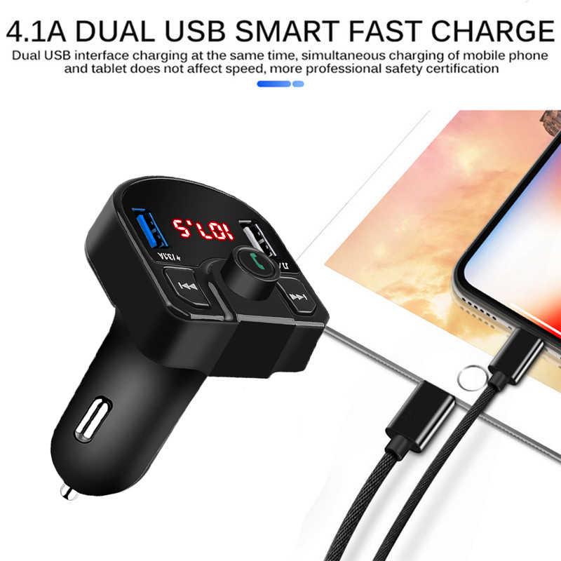 Bluetooth 4.2 MP3 プレーヤーハンズフリーカーキット FM トランスミッタのサポート Tf カード U ディスク QC2.0 3.1A 高速デュアル USB 充電器電源アダプタ