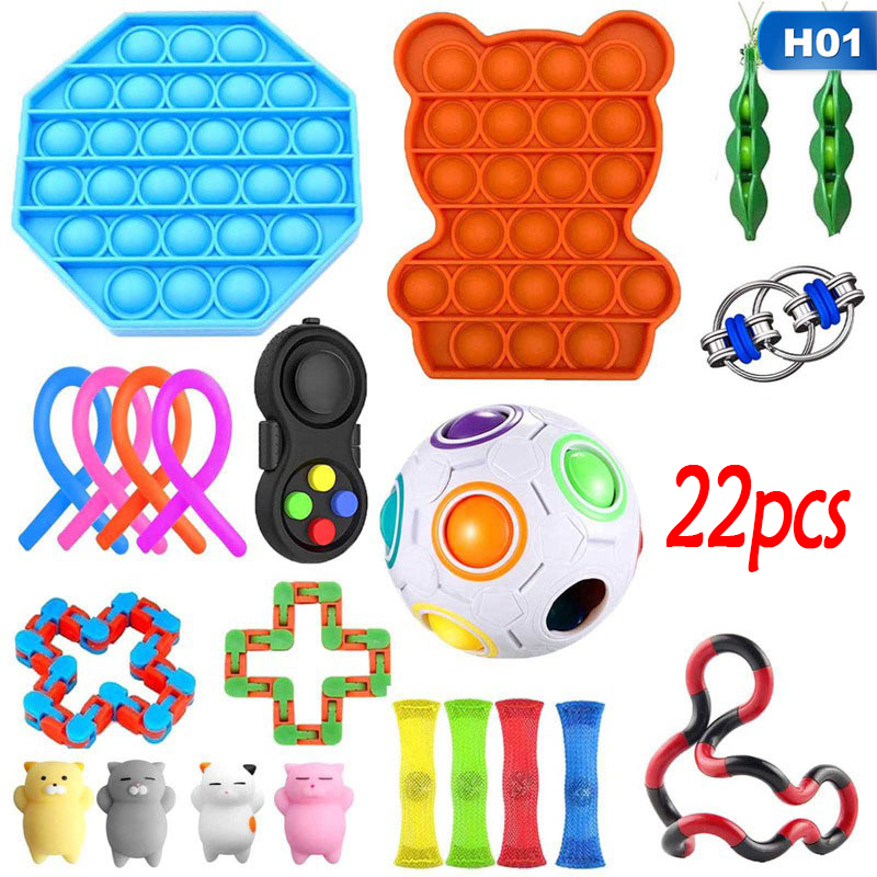 Fidget Toys Set Stretchy Strings Mesh Marble Sensory Anxiety Relief Push Set pops it Adults Anti Stress Toy Girl Children Gift