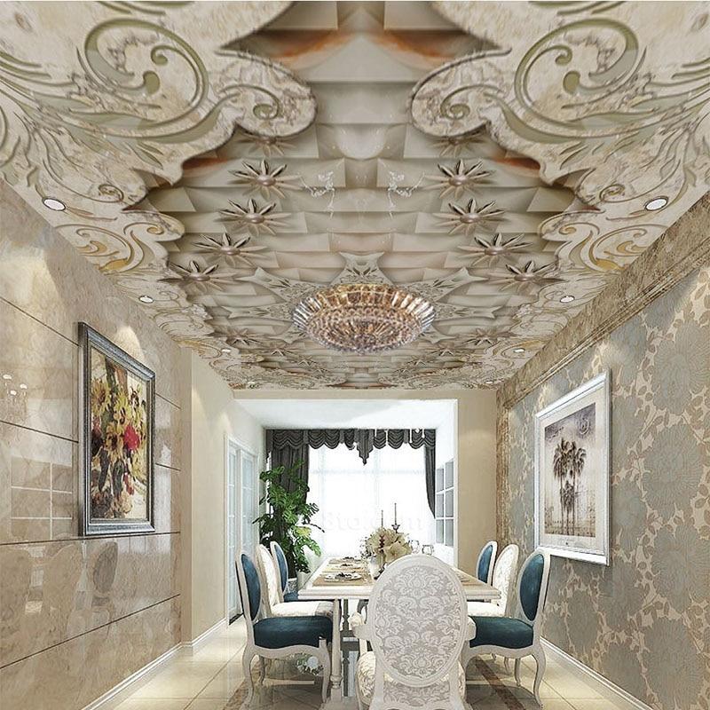 3D фото обои, роскошные мраморные потолочные росписи, гостиная, спальня, столовая, домашний декор, обои 3 D