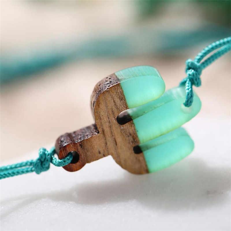 Czeski drewniane serce urok liny bransoletka dla kobiet mężczyzn piękny żywica okrągły niebieski kaktus bransoletki plaża biżuteria regulowany prezent