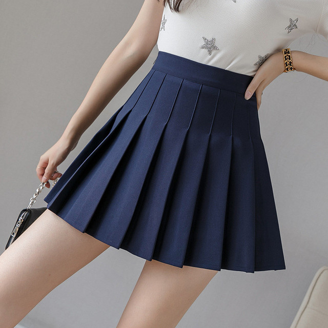 HHGATE XS-2XL High Waist Stitching Student Pleated Women Cute Sweet Girl Dance Mini Black White Blue Grey Skirts 6