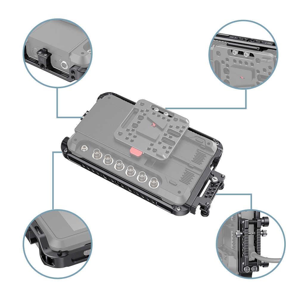 Smallrig Layar Monitor Kandang dengan Sunhood/HDMI CABLE CLAMP untuk Atomos Shogun 7 Monitor Kit Kandang dengan Built-In NATO RAIL-2409