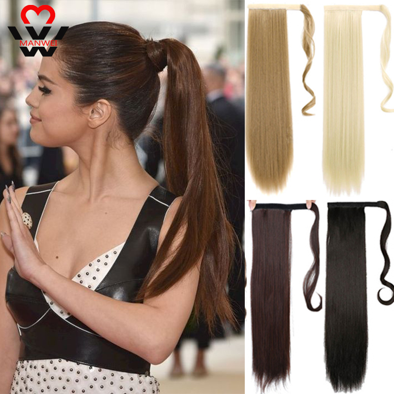 MANWEI 24 Inch Machine Made Remy Hair Ribbon Ponytail Clips-in Human Hair Extensions Horsetail Natural Straight Hair