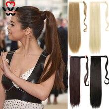 MANWEI 24-дюймовый машина сделала Реми Лента волос зажим-в хвостики человеческие наращивание хвоща естественная прямая