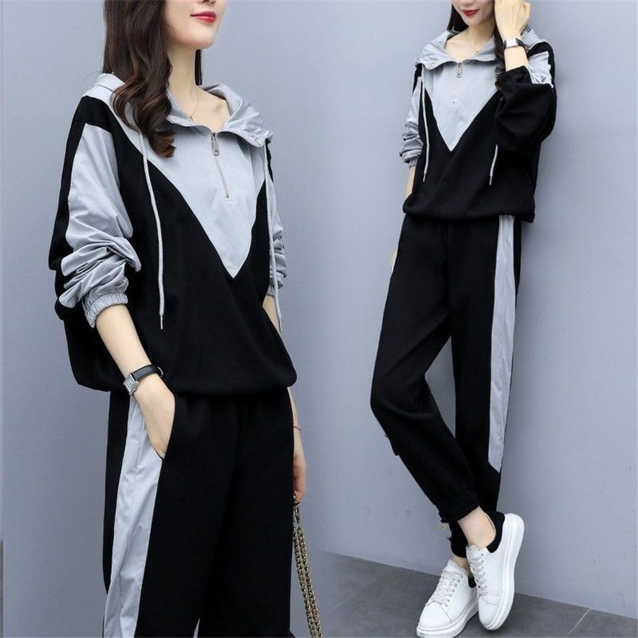 women's tracksuits autumn Women Solid Color Hooded Sweatshirt and pant Tracksuit Sport Suit