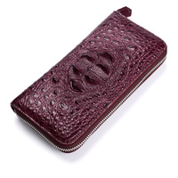 100% real thailand crocodile leather women long zipper purse luxury day clutch wallet high quality