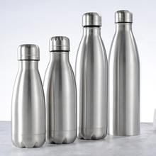Бутылка для воды Портативная Спортивная велосипедная бутылка для воды из нержавеющей стали, бутылки для горячей и холодной воды Cola, вакуумная фляга с одной стенкой, гидро фляга 500/750 мл