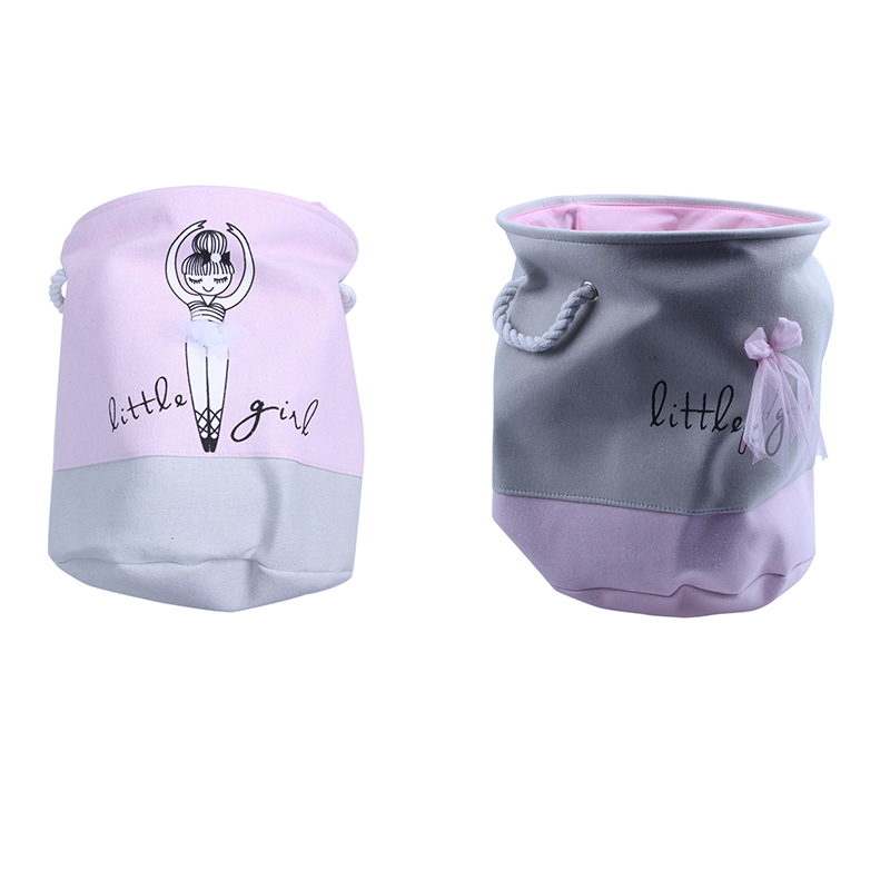 2 Pcs Pink Laundry Basket for Dirty Clothes Cotton Ballet Girl Bow Print Toys Organizer Home Storage Organization 35x40Cm