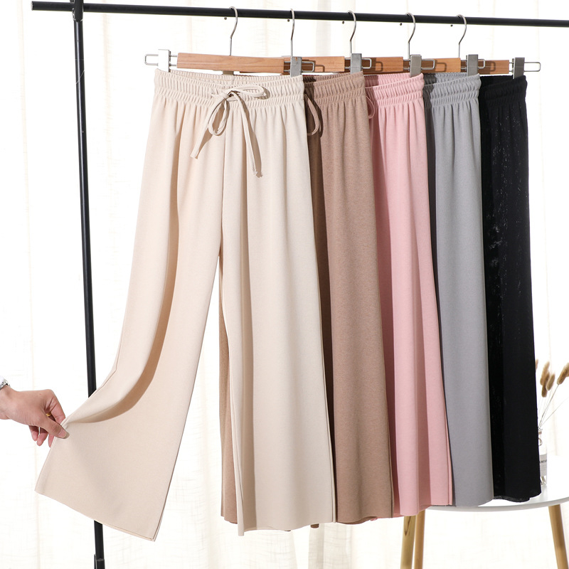 2019 Summer Casual Straight Pants Women Beige Elastic Waist Knit Wide Leg Pants Fashion Basic Trousers Loose Ankle Length Pants