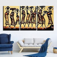3 Pieces Modern HD Printed Wall Art Canvas Pictures African Women Abstract Painting Poster Home Decor For Living Room