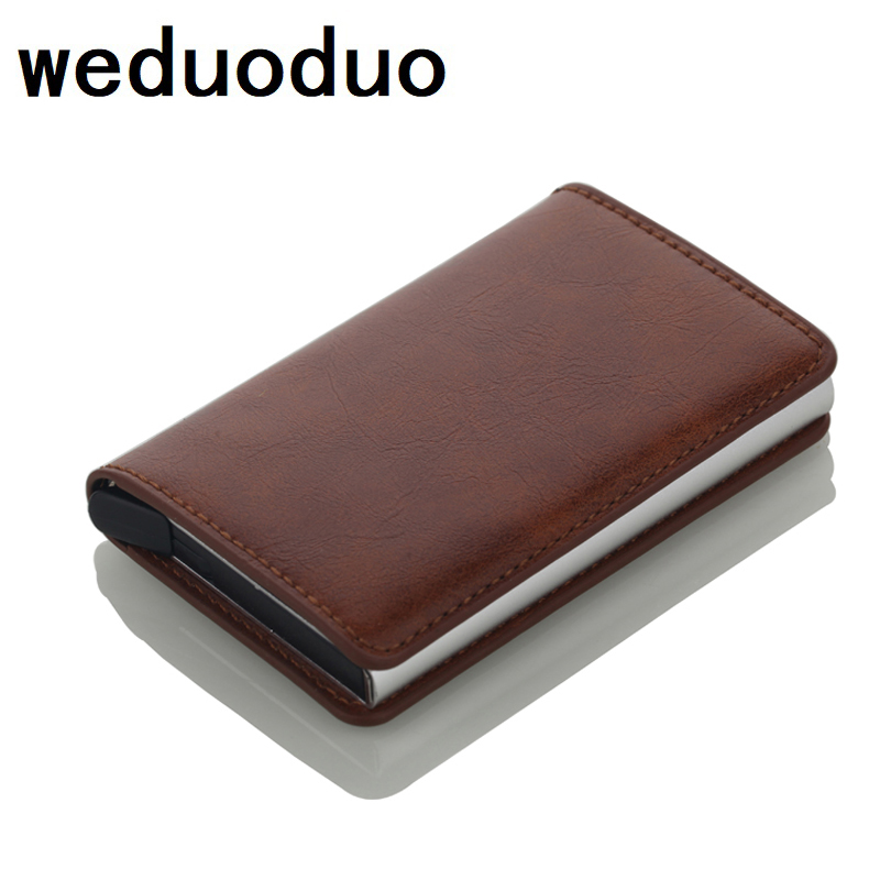 RFID Alloy Credit Card Holder PU Leather Card Wallet Aluminium Card Holder for Men Women Automatic Pop Up Card Case