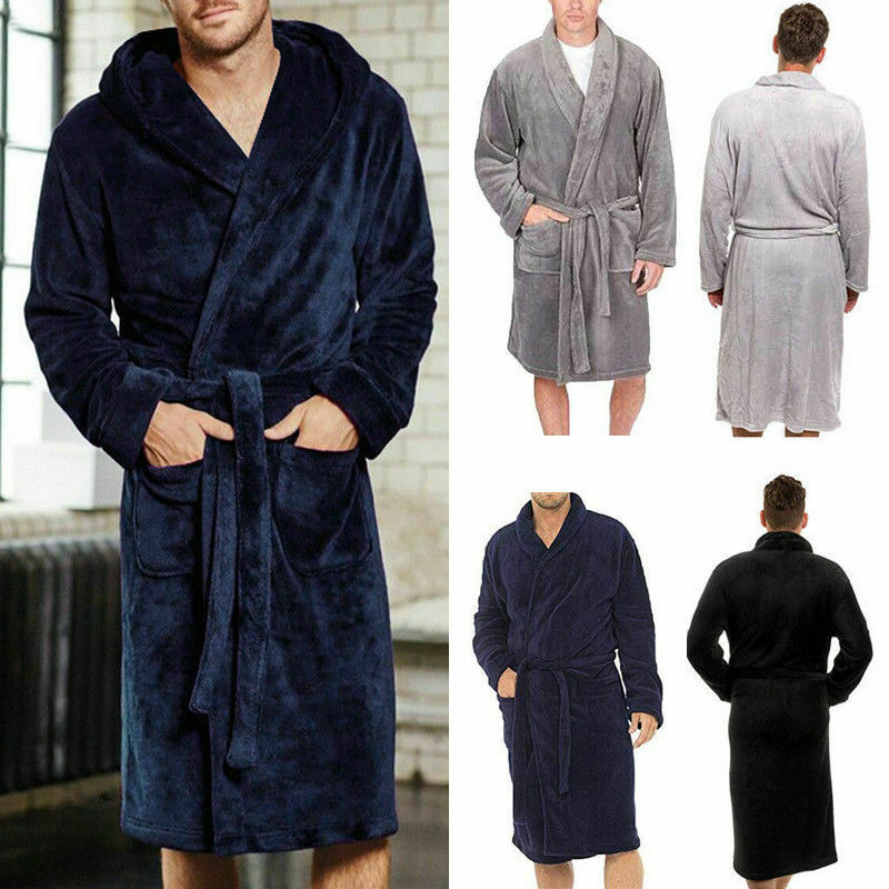 Men's Long Sleepwear Robes Shawl Collar Coral Fleece Bathrobe Spa Pajamas Soft