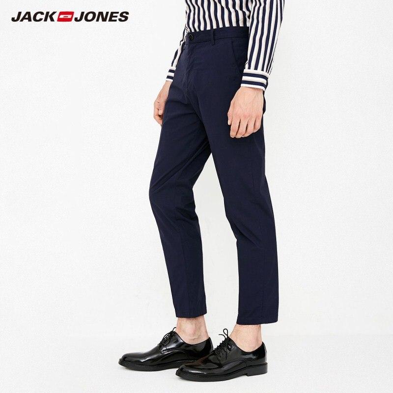 JackJones Men's Smart Casual Lycra Fabric Slim Fit Business Pure Color Pants Men Trousers Male Basic 218314501