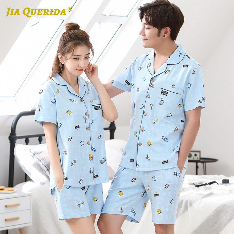 New Pijama Set Homesuit Homeclothes Fashion Style Short Sleeve Short Pants Couple Pajamas Blue Top Blue Pants Turn Down Collar