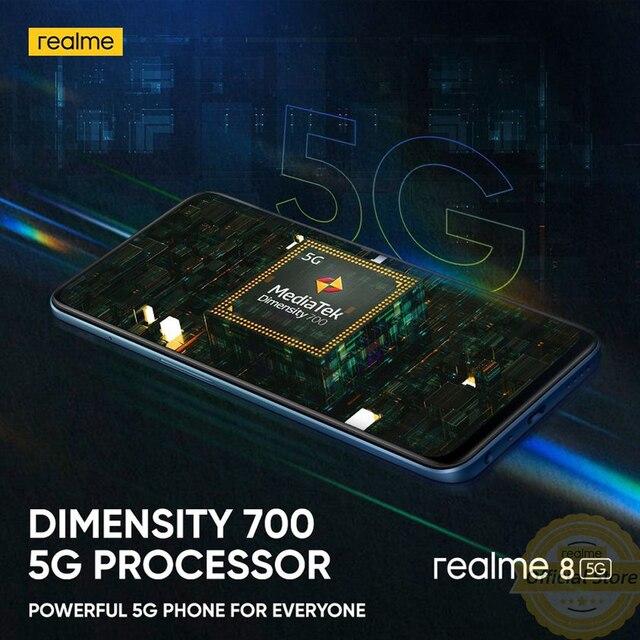 realme 8 5G Global Russian Version NFC Dimensity 700 90Hz Display Smartphone 5000mAh 48MP Triple Camera 4GB 64GB 3