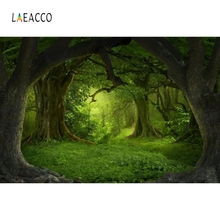 Laeacco Fairytale Green Forest Old Trees Grassland Baby Photography Backdrops Vinyl Customs Backgrounds Props For Photo Studio forest fairytale knits