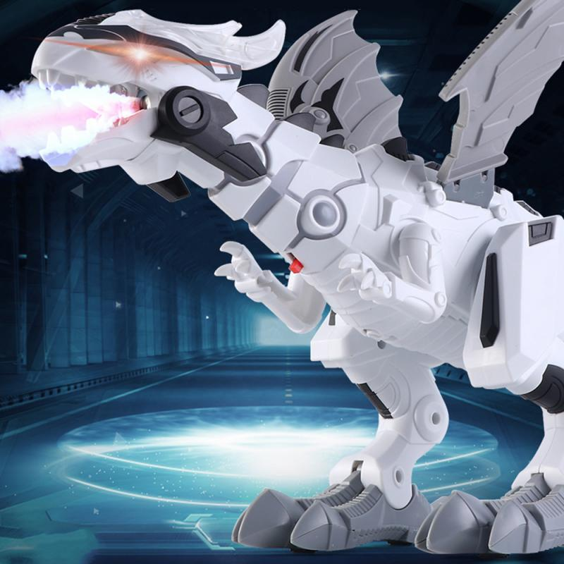 Large Spray Mechanical Dinosaurs With Wing Cartoon Electronic Walking Animal Model Dinosaurio Robot Kid Educational Toy Gift