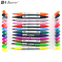 Superior 12 Colors/Set Artist Soft Dual Watercolor Brush Sketch Markers Water Based Ink Twin Tip Marker Pen for Drawing Manga water based ink twin tip sketch marker pen brushand fine tip art graphic drawing manga brush pen dual tip art marker for drawing