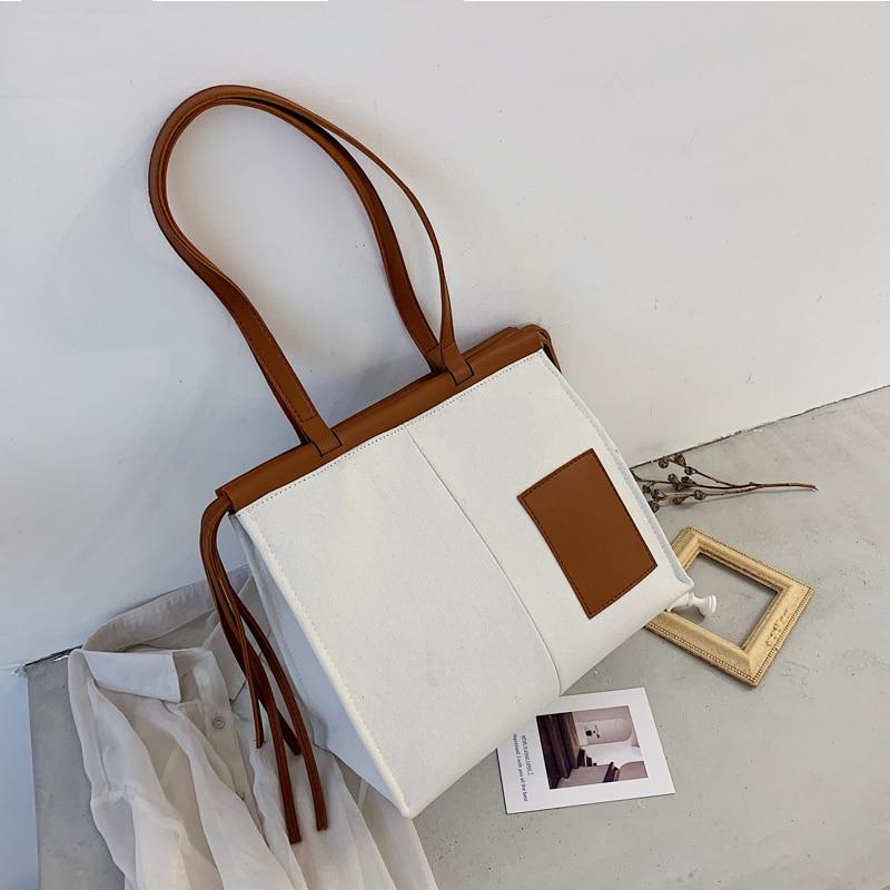 Woman Canvas Shoulder Bag Fashion Young Ladies Handbag Stitching Female Work Commuter Bag High Quality Literary Shopping Bag