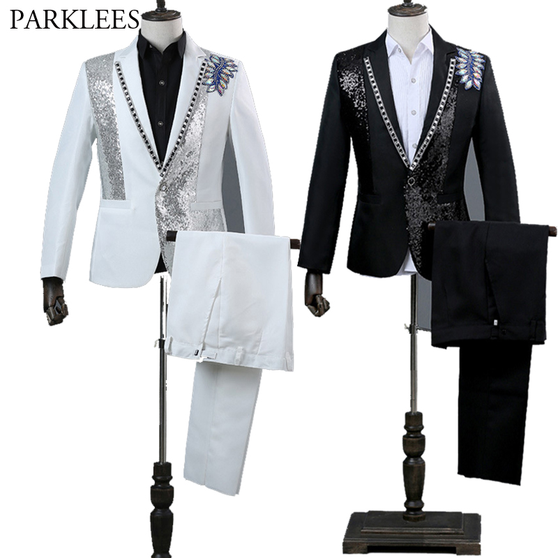 Men Double-side 3D Crystal Embroidery Flower Mens Suit Set Stage Singer Nightclub Suit Jacket Men Suit For Wedding Costume Homme