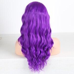 Image 4 - Charisma Lange Körper Welle Haar Lila Spitze Vorne Perücke Seite Teil Synthetische Perücken für Frauen Hitze Beständig Glueless Perücke 150 dichte