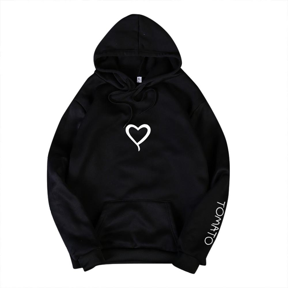 Valentine's Day Hoodies For Couples Autumn Spring Harajuku Heart Print Long Sleeve Hooded Sweatshirt Casual Pullover Tops Women 10