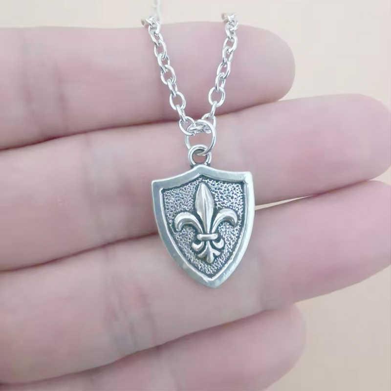 Fleur de Lis lys français Fleur colliers pour femmes cadeau de noël Vintage pendentif Collier ras du cou Collier Design bijoux en argent