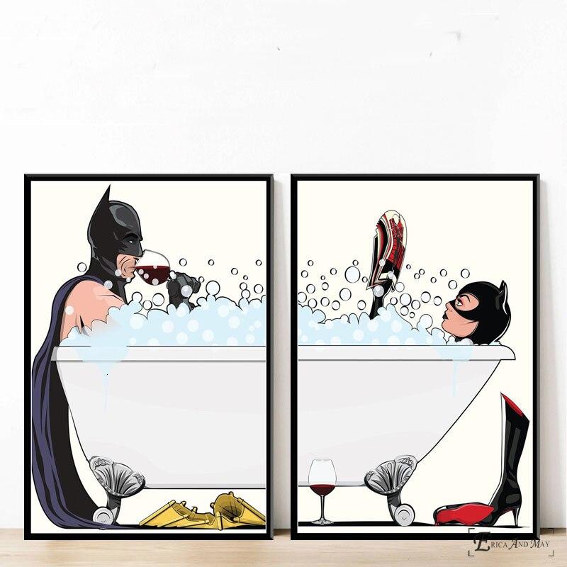 Best  Bathroom Oil Painting Modern Batman Comic Superheros Toilet Poster Prints Art Wall Pictures For Liv