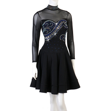 Adult Latin Competition Dance Dresses Long Sleeve Skirt Women High Collar Black Sexy Tango Rumba Samba Dress