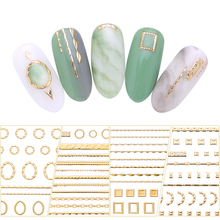 Gold 3D Nail Sticker Lines Strip Geometric Heart Self Adhesive Nail Art Transfer Stickers Decoration DIY Design Manicuring