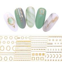 Goud 3D Nail Sticker Lijnen Strip Geometrische Hart Zelfklevende Nail Art Transfer Stickers Decoratie Diy Ontwerp Manicuring