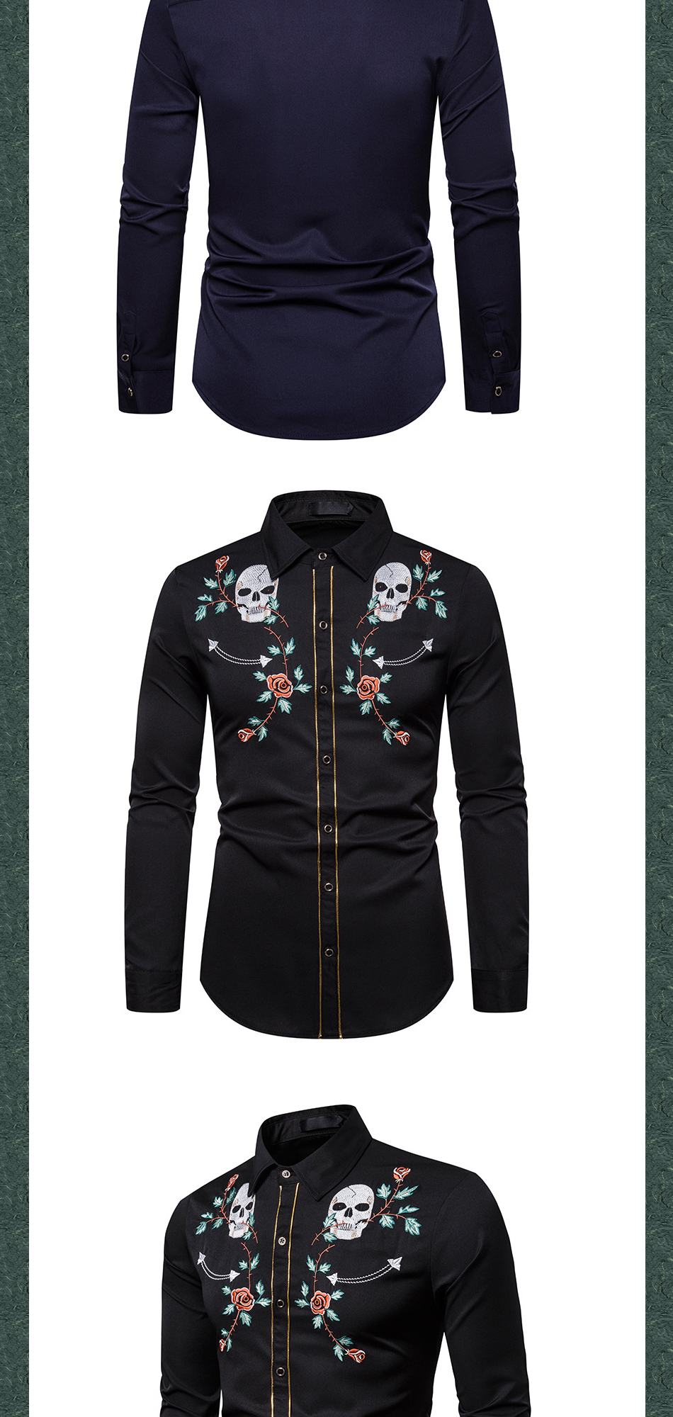 skeleton Rose Embroidered camisa Long Sleeve Shirt Autumn Shirt Korean Hair Stylist 2020 New Men's Shirt chemise homme