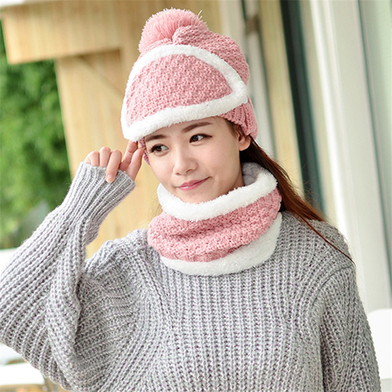 New Winter Thick Scarf Hat Set Warm Masks Hat Scarf Three Set Autumn Winter Women's Knit Beanies Pom Poms Windstop Sets