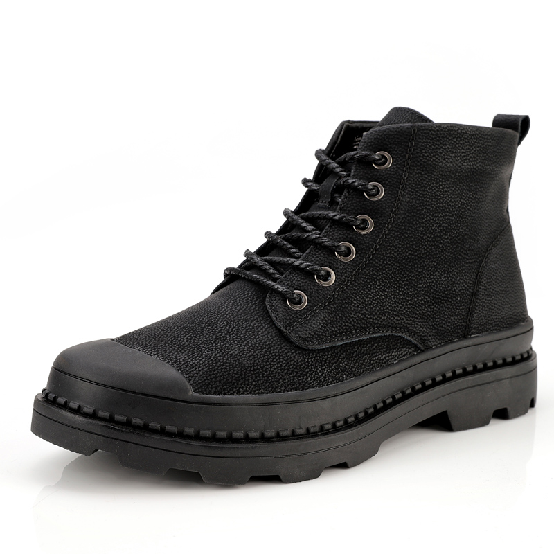 Men Boots Casual Autumn Genuine Leather Boots Mens Lace-Up Non-slip Footwear Fashion Winter Plush Warm Ankle Boots 38-47