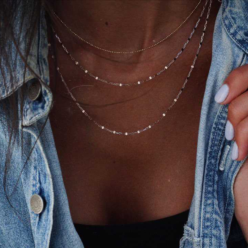 Boho Gold Multi-layer Choker Necklace Women Personalized Chain Necklace Dainty Clavicle Choker Short Chokers Necklaces For Women