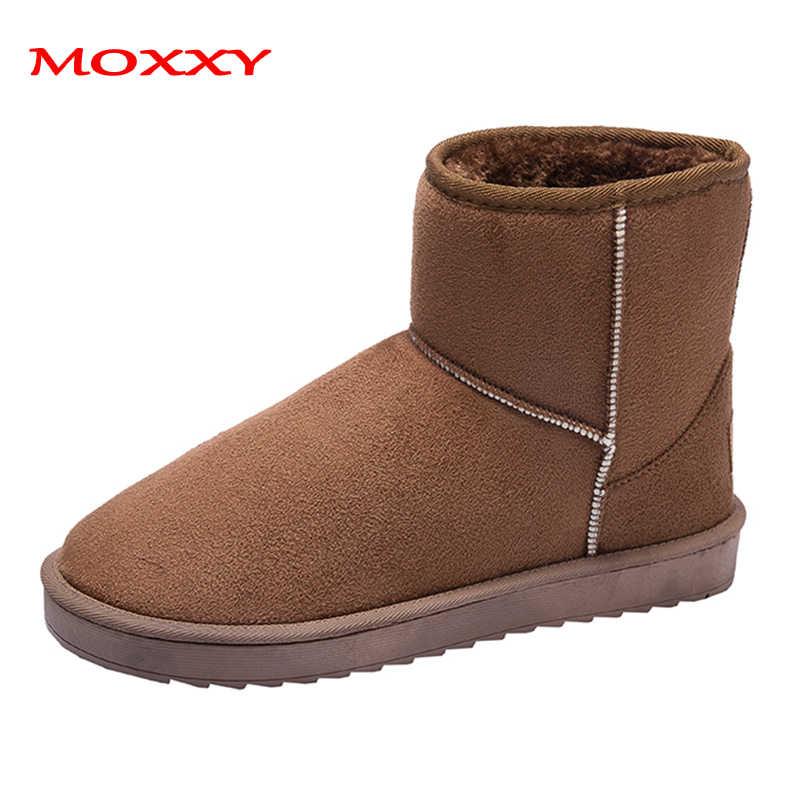 2019 yeni Unisex kar botları kadın gri kahverengi kışlık botlar erkekler kadınlar üzerinde kayma kürk peluş sıcak avustralya botları çift artı boyutu 44